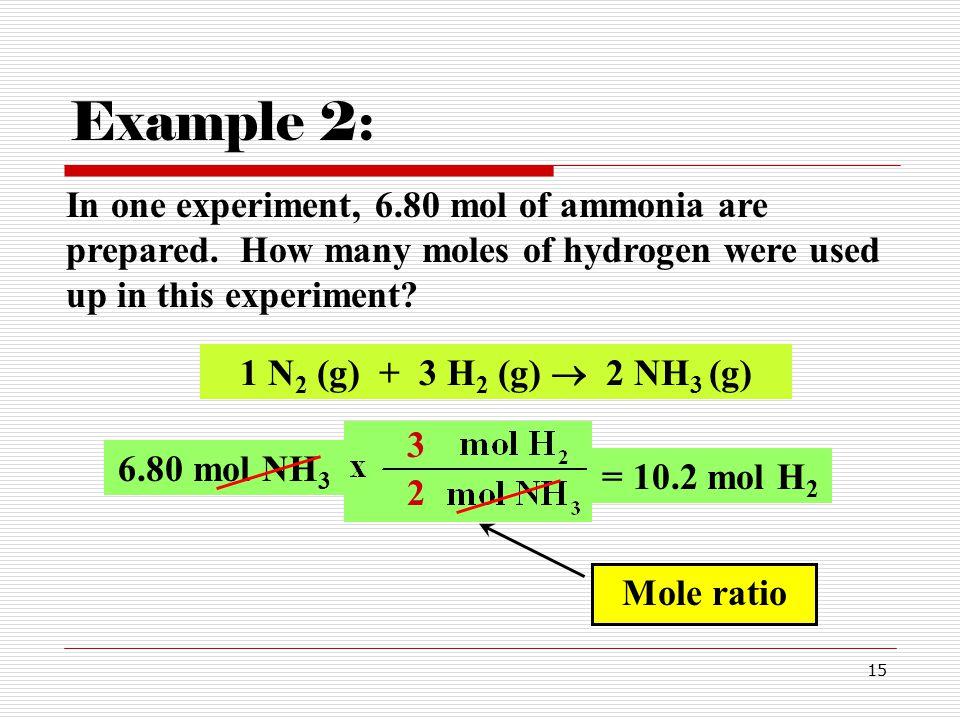 15 In one experiment, 6.80 mol of ammonia are prepared.