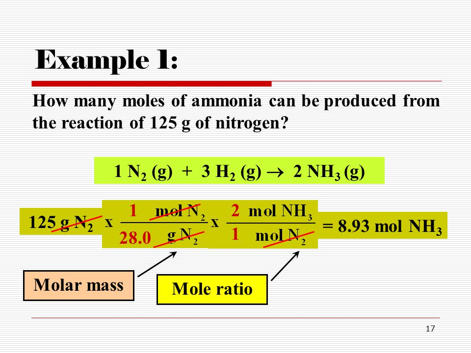 17 How many moles of ammonia can be produced from the reaction of 125 g of nitrogen.