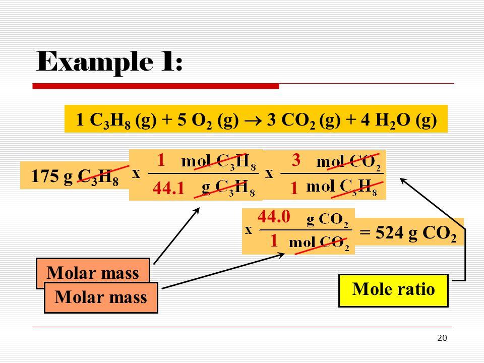 20 Example 1: 1 C 3 H 8 (g) + 5 O 2 (g)  3 CO 2 (g) + 4 H 2 O (g) 175 g C 3 H 8 44.1 1 = 524 g CO 2 1 3 Molar mass Mole ratio 44.0 1 Molar mass
