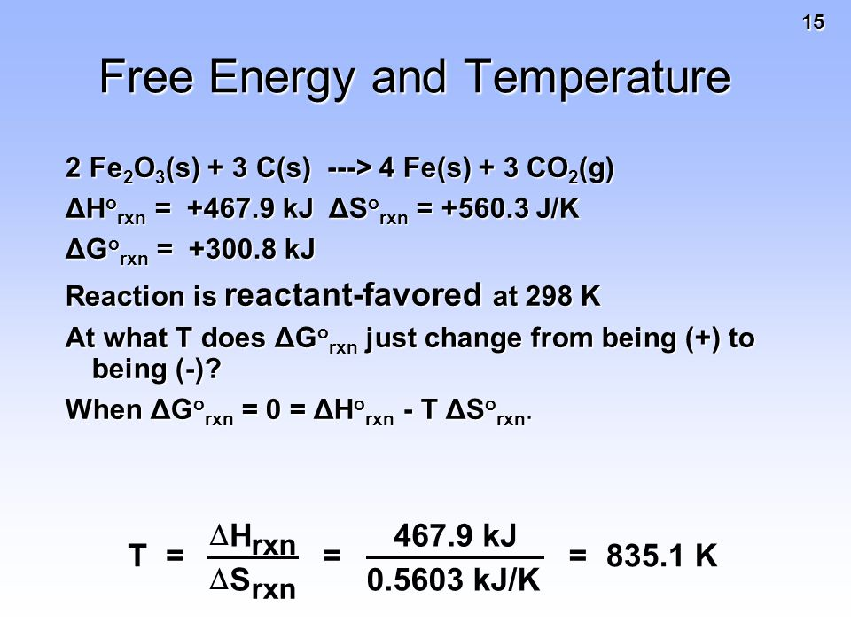 15 Free Energy and Temperature 2 Fe 2 O 3 (s) + 3 C(s) ---> 4 Fe(s) + 3 CO 2 (g) ΔH o rxn = +467.9 kJ ΔS o rxn = +560.3 J/K ΔG o rxn = +300.8 kJ Reaction is reactant-favored at 298 K At what T does ΔG o rxn just change from being (+) to being (-).