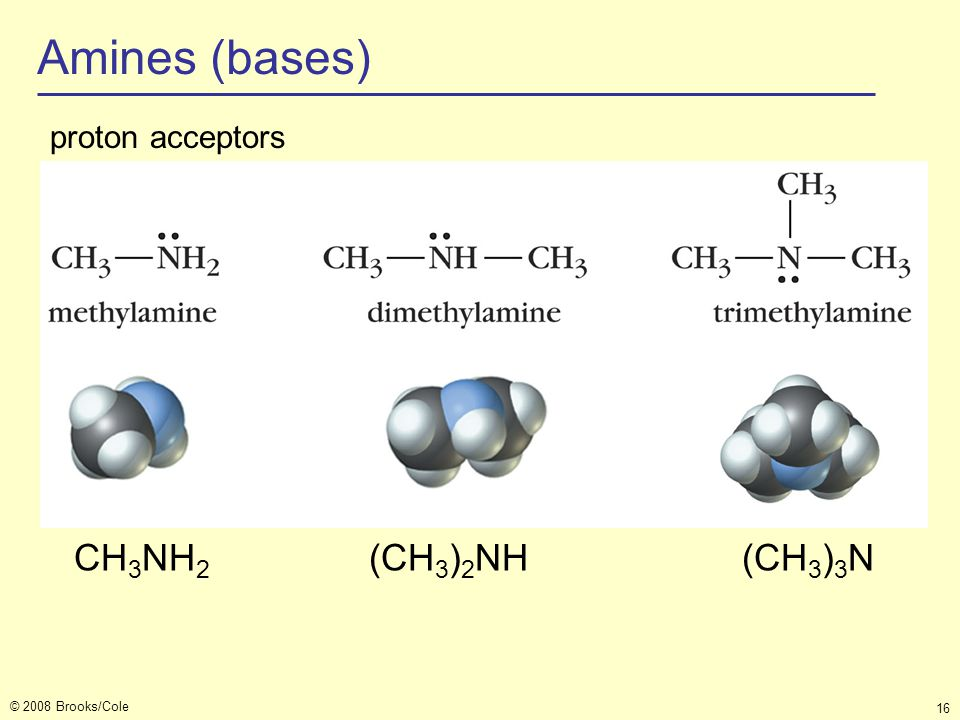 © 2008 Brooks/Cole 16 Amines (bases) CH 3 NH 2 (CH 3 ) 2 NH(CH 3 ) 3 N proton acceptors