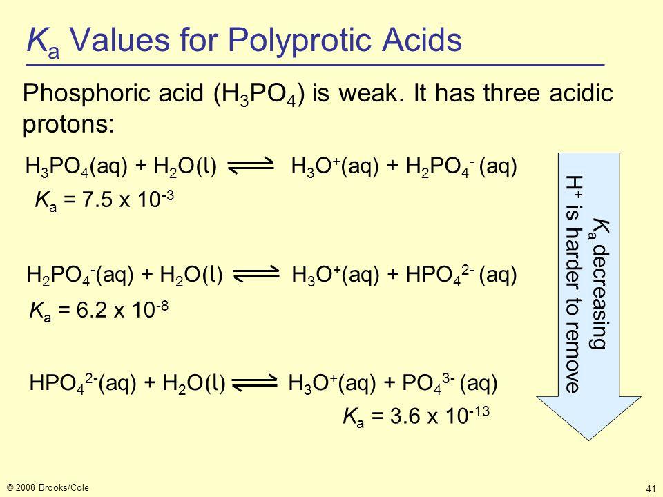 © 2008 Brooks/Cole 41 K a Values for Polyprotic Acids Phosphoric acid (H 3 PO 4 ) is weak. It has three acidic protons: H 3 PO 4 (aq) + H 2 O (l) H 3