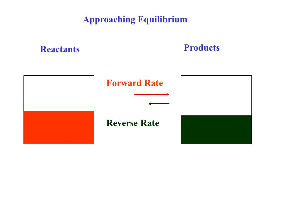 Reactants Products Approaching Equilibrium Reverse Rate Forward Rate