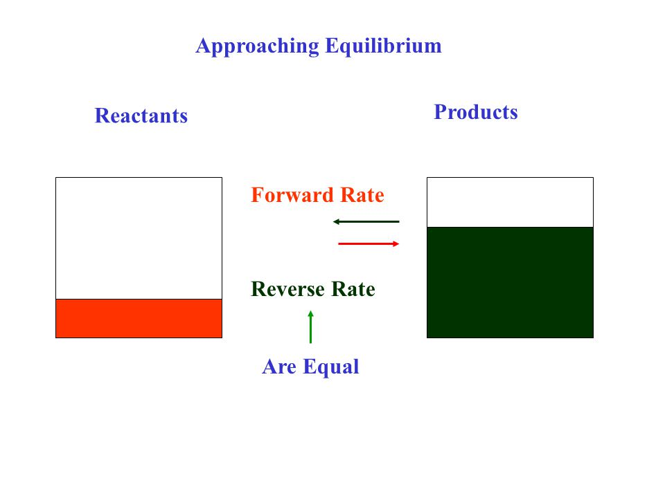 Reactants Products Approaching Equilibrium Reverse Rate Forward Rate Are Equal