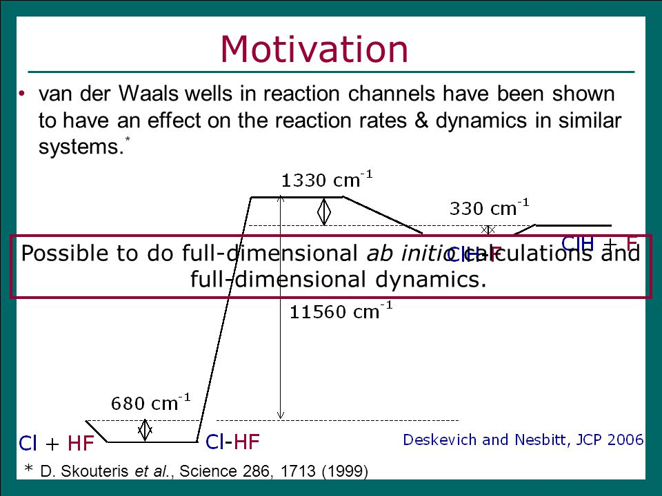 van der Waals wells in reaction channels have been shown to have an effect on the reaction rates & dynamics in similar systems.