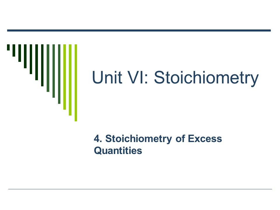 Unit VI: Stoichiometry 4. Stoichiometry of Excess Quantities