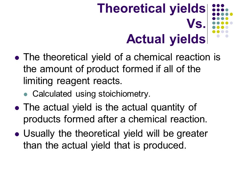 Theoretical yields Vs.