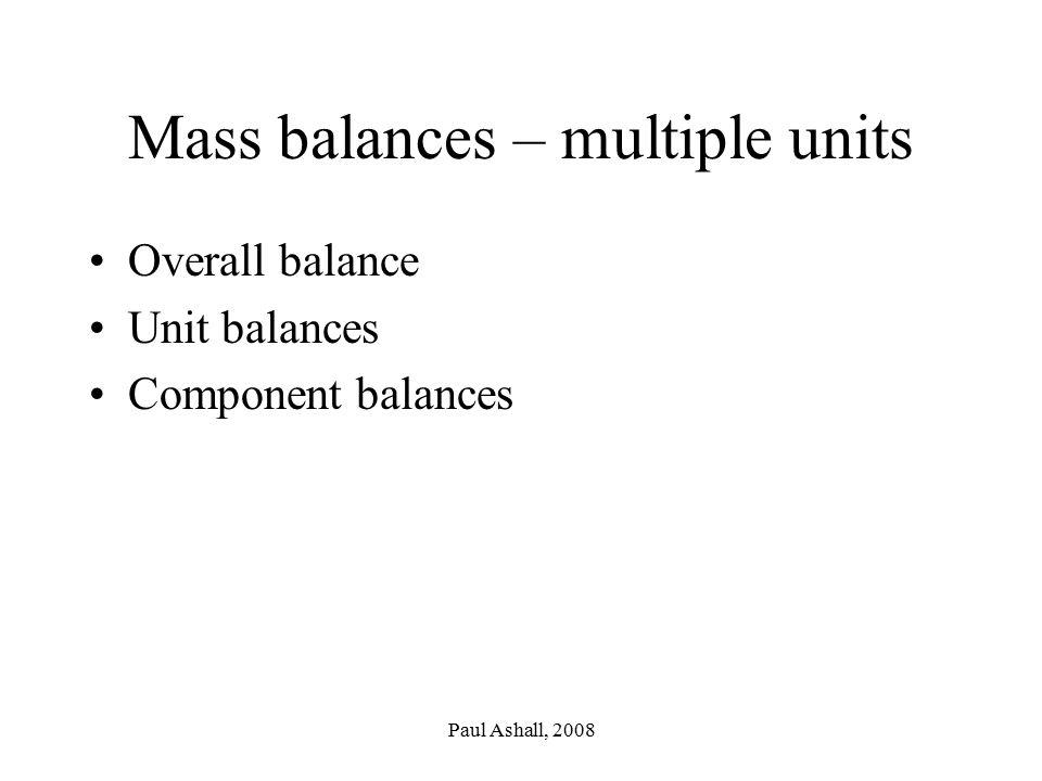 Paul Ashall, 2008 Mass balances – multiple units Overall balance Unit balances Component balances