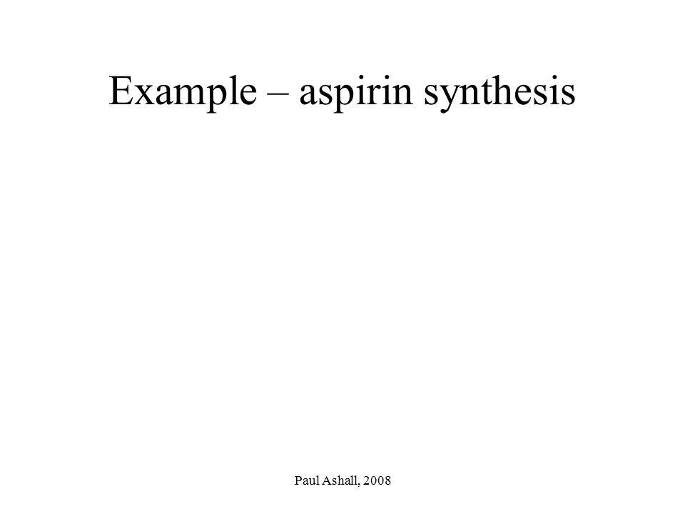 Paul Ashall, 2008 Example – aspirin synthesis