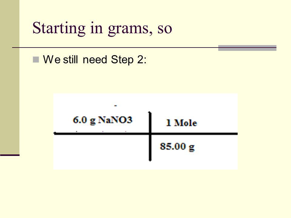 Starting in grams, so We still need Step 2: