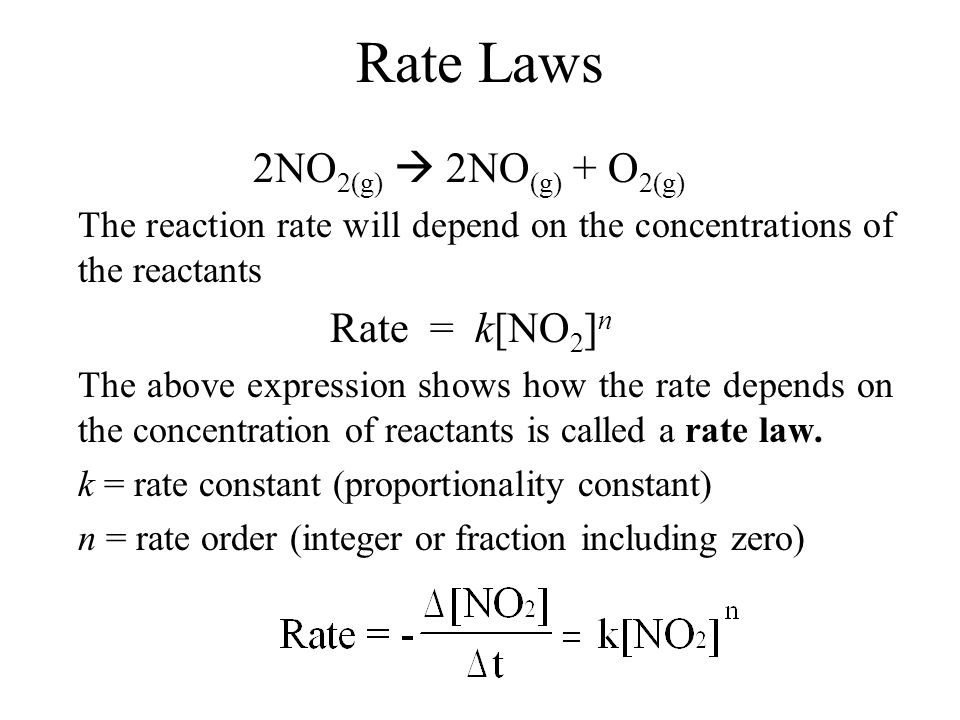 Types of Rate Laws Differential Rate Law: expresses how rate depends on concentration.
