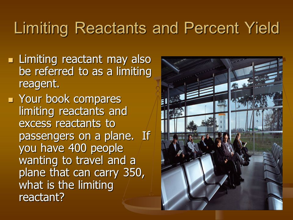 Limiting Reactants and Percent Yield Limiting reactant may also be referred to as a limiting reagent. Limiting reactant may also be referred to as a l