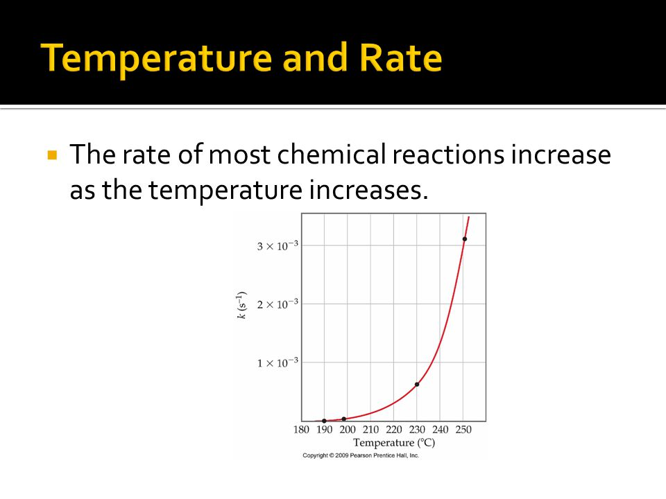  The rate of most chemical reactions increase as the temperature increases.