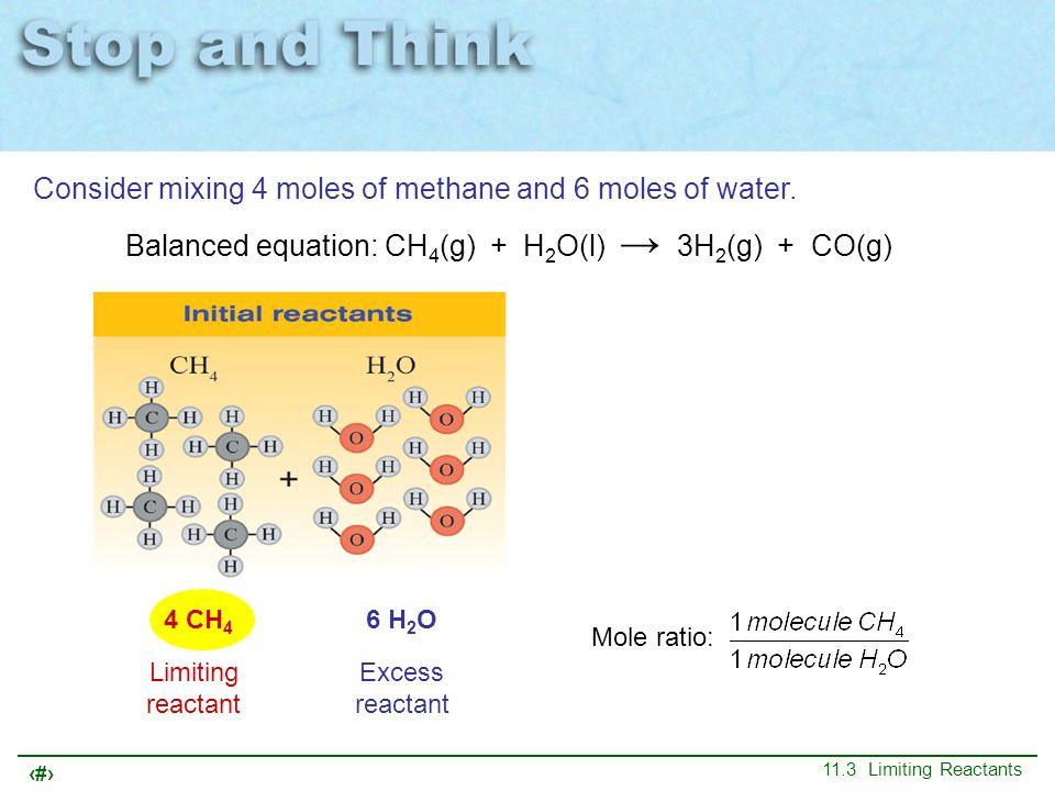 10 11.3 Limiting Reactants 4 CH 4 6 H 2 O Mole ratio: Limiting reactant Excess reactant Balanced equation: CH 4 (g) + H 2 O(l) → 3H 2 (g) + CO(g) Cons