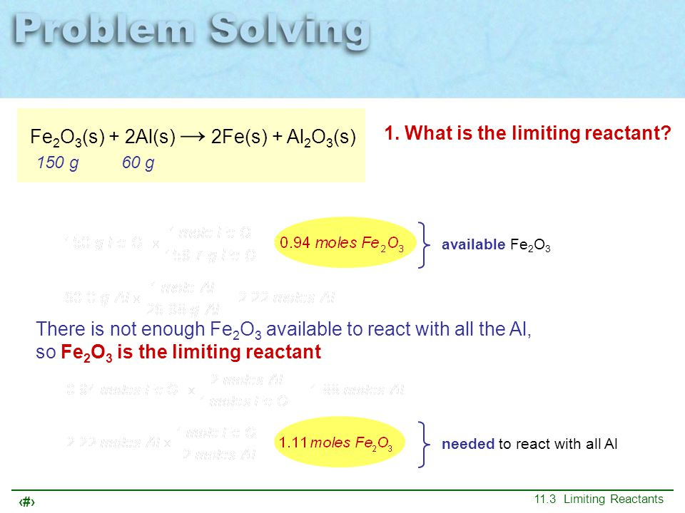 23 11.3 Limiting Reactants Fe 2 O 3 (s) + 2Al(s) → 2Fe(s) + Al 2 O 3 (s) 150 g60 g 1. What is the limiting reactant? needed to react with all Al avail