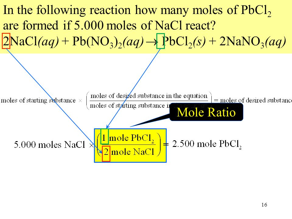 Mole Ratio 16 In the following reaction how many moles of PbCl 2 are formed if 5.000 moles of NaCl react.