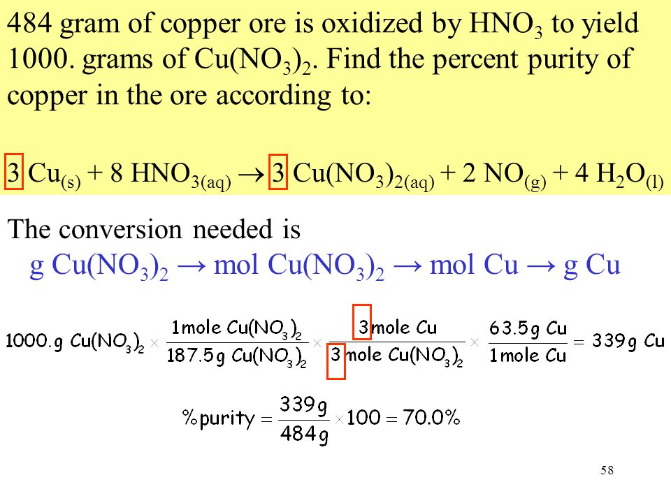 58 484 gram of copper ore is oxidized by HNO 3 to yield 1000.