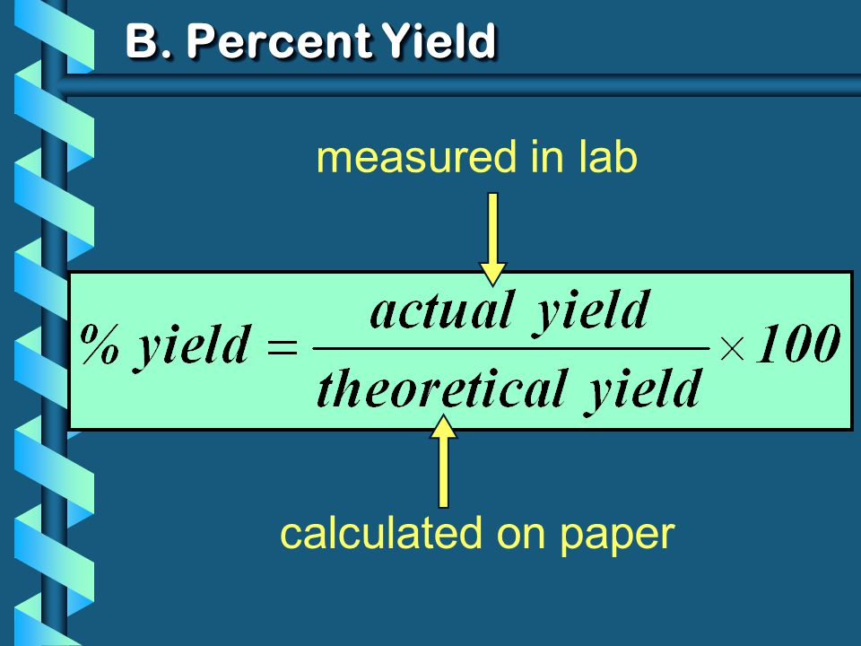 B. Percent Yield calculated on paper measured in lab