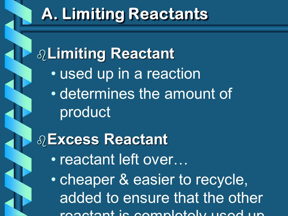 A.Limiting Reactants 1. Write a balanced equation.