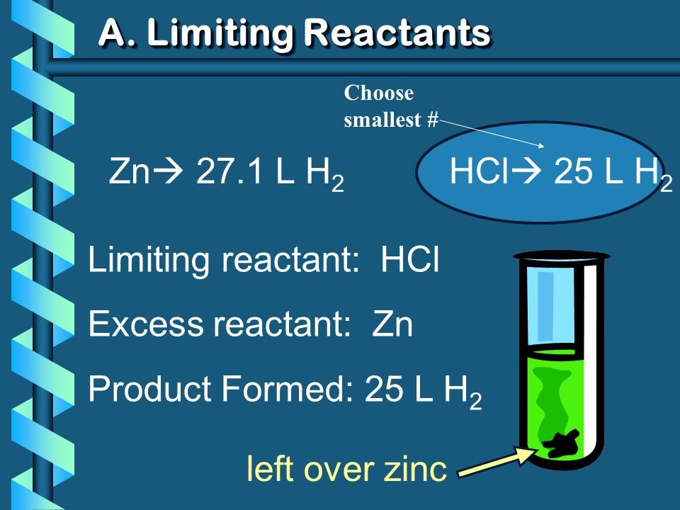 A. Limiting Reactants Zn  27.1 L H 2 HCl  25 L H 2 Limiting reactant: HCl Excess reactant: Zn Product Formed: 25 L H 2 left over zinc Choose smalles