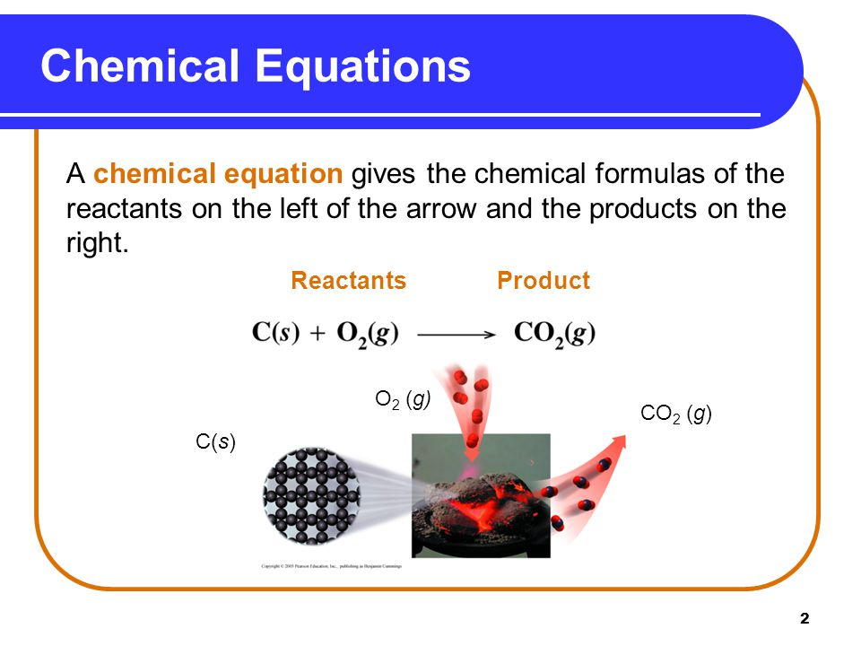 2 A chemical equation gives the chemical formulas of the reactants on the left of the arrow and the products on the right.