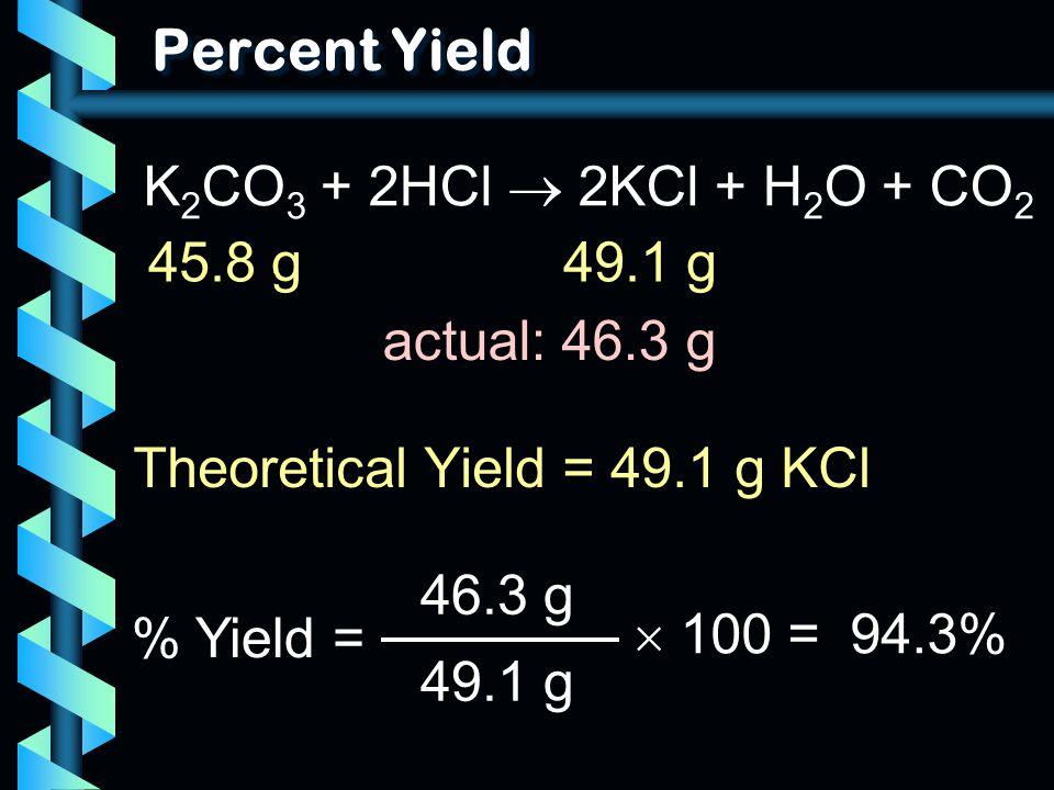 Percent Yield Theoretical Yield = 49.1 g KCl % Yield = 46.3 g 49.1 g  100 = 94.3% K 2 CO 3 + 2HCl  2KCl + H 2 O + CO 2 45.8 g49.1 g actual: 46.3 g