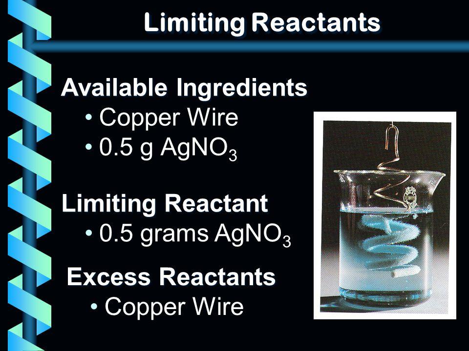 Limiting Reactants Available Ingredients Copper Wire 0.5 g AgNO 3 Limiting Reactant 0.5 grams AgNO 3 Excess Reactants Copper Wire
