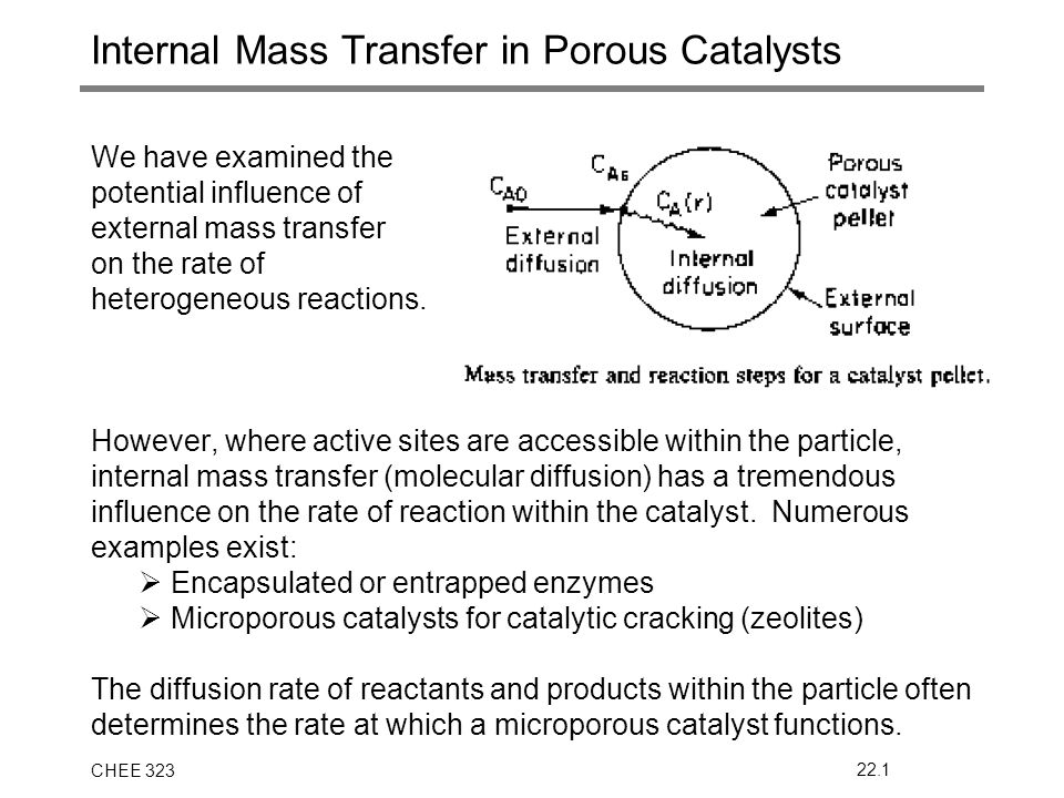 CHEE 32322.1 Internal Mass Transfer in Porous Catalysts We have examined the potential influence of external mass transfer on the rate of heterogeneou