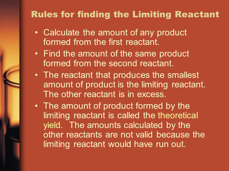 Rules for finding the Limiting Reactant Calculate the amount of any product formed from the first reactant. Find the amount of the same product formed
