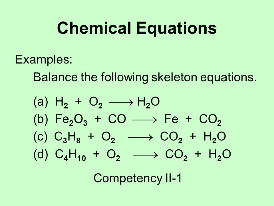 Chemical Equations Examples: Balance the following skeleton equations.