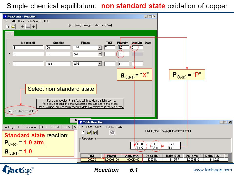 "www.factsage.com Reaction Simple chemical equilibrium: non standard state oxidation of copper a Cu(s) = ""X"" P O 2 (g) = ""P"" Standard state reaction: P"