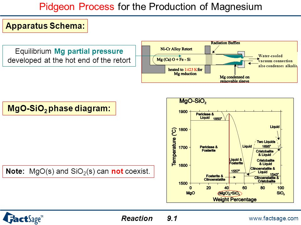 www.factsage.com Reaction Pidgeon Process for the Production of Magnesium MgO-SiO 2 phase diagram: Note: MgO(s) and SiO 2 (s) can not coexist. Equilib