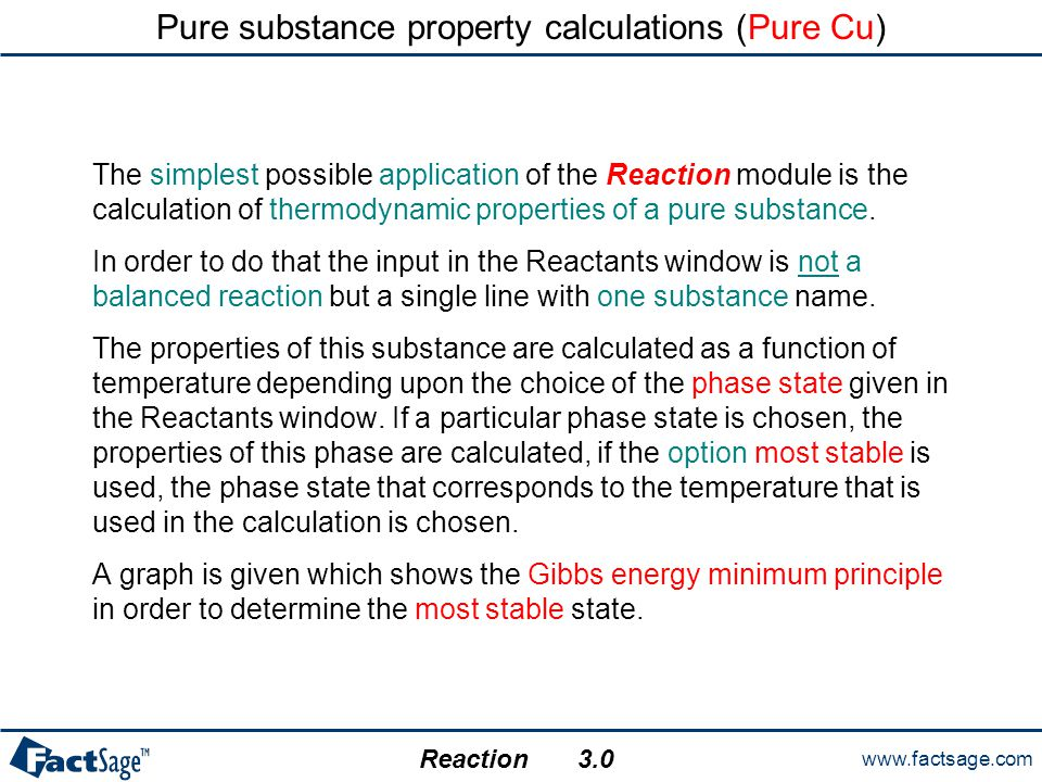 www.factsage.com Reaction Thermal balance for leaching of zinc oxide The reaction is exothermic:  H < 0.