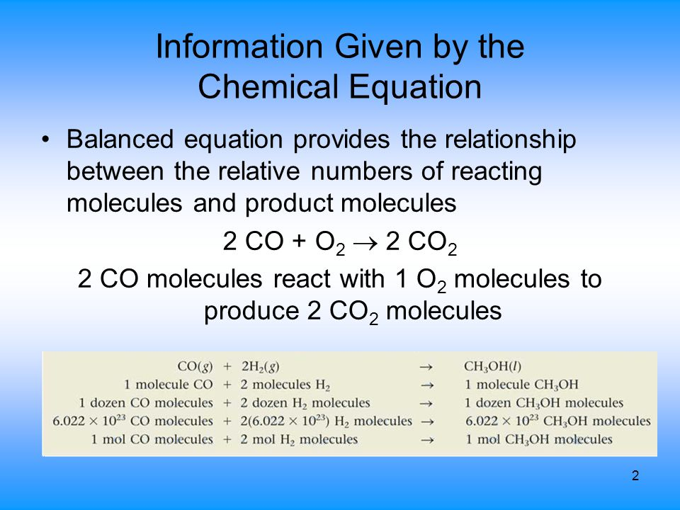 2 Information Given by the Chemical Equation Balanced equation provides the relationship between the relative numbers of reacting molecules and produc