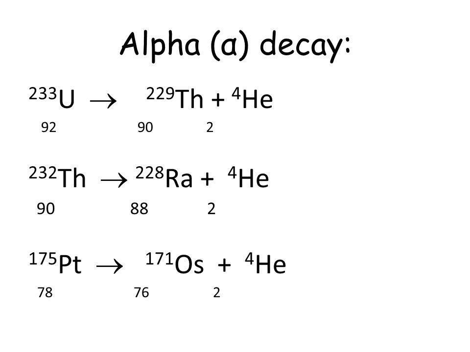 Alpha (α) decay: 233 U  229 Th + 4 He 92 90 2 232 Th  228 Ra + 4 He 90 88 2 175 Pt  171 Os + 4 He 78 76 2