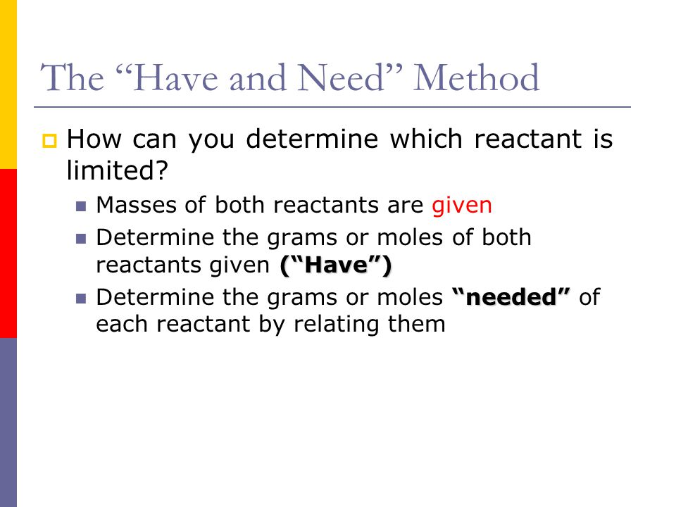 "The ""Have and Need"" Method  How can you determine which reactant is limited? Masses of both reactants are given (""Have"") Determine the grams or moles"