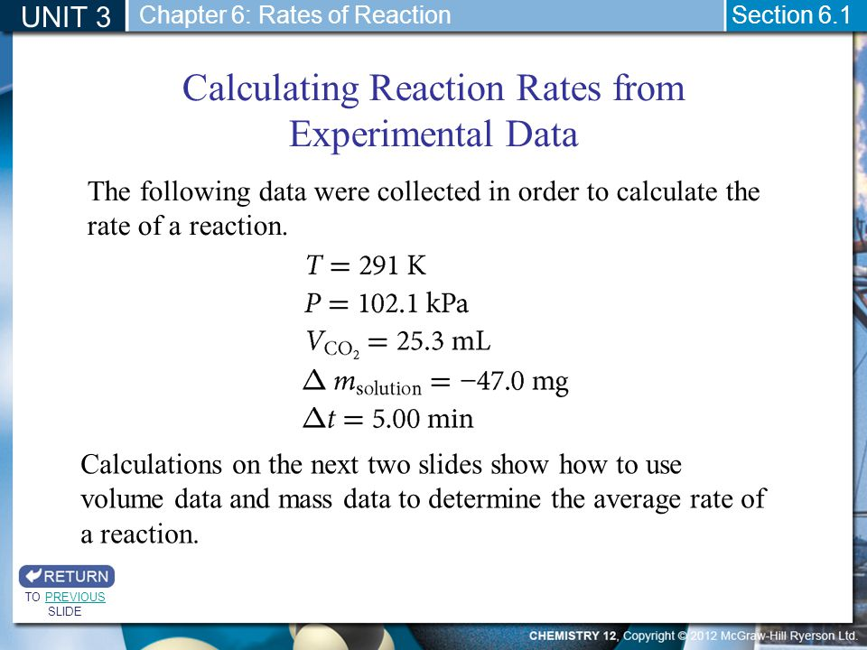 UNIT 3 Section 6.1 Calculating Reaction Rates from Experimental Data TO PREVIOUS SLIDEPREVIOUS Chapter 6: Rates of Reaction The following data were co