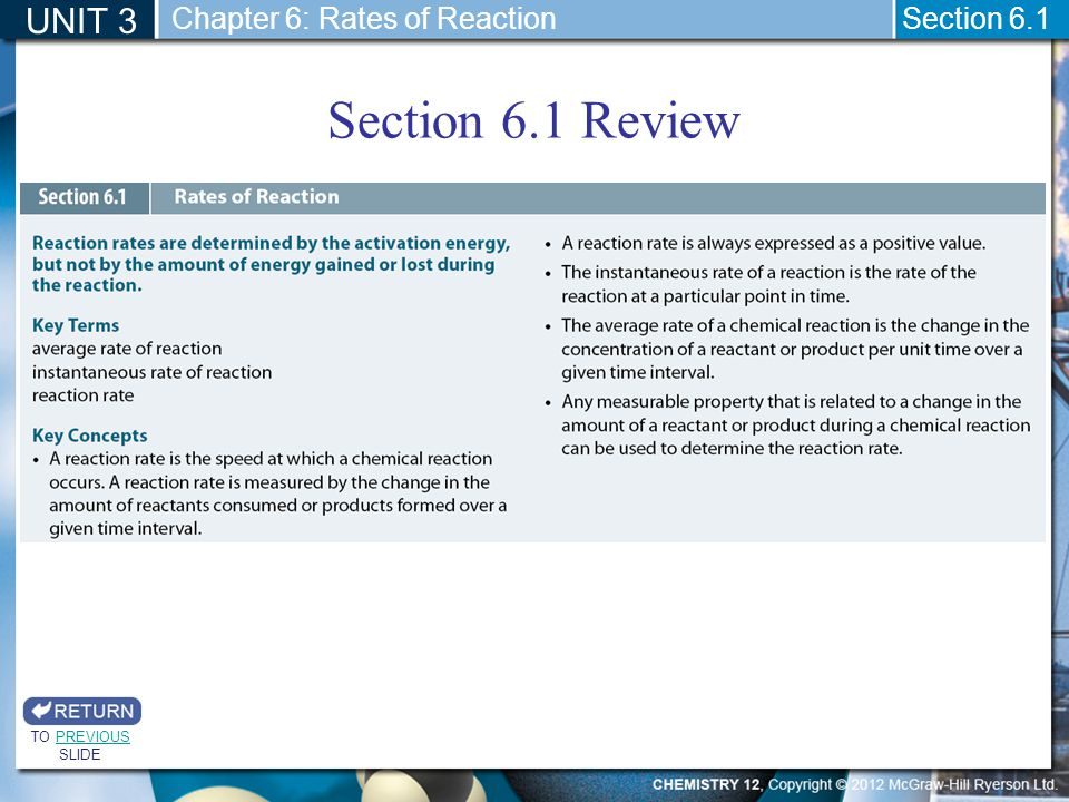 Section 6.1 Review UNIT 3 Section 6.1 TO PREVIOUS SLIDEPREVIOUS Chapter 6: Rates of Reaction
