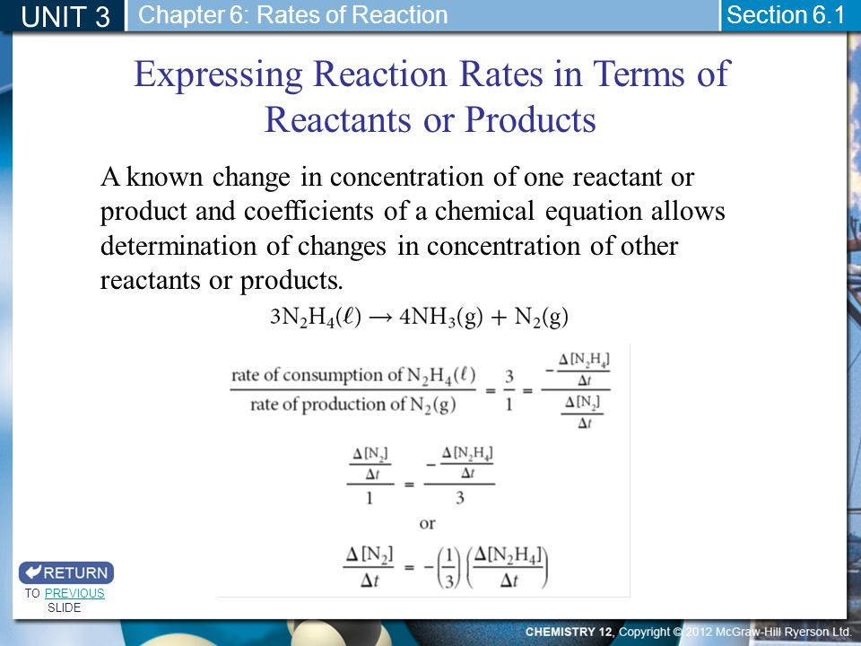 UNIT 3 Section 6.1 Expressing Reaction Rates in Terms of Reactants or Products TO PREVIOUS SLIDEPREVIOUS A known change in concentration of one reacta