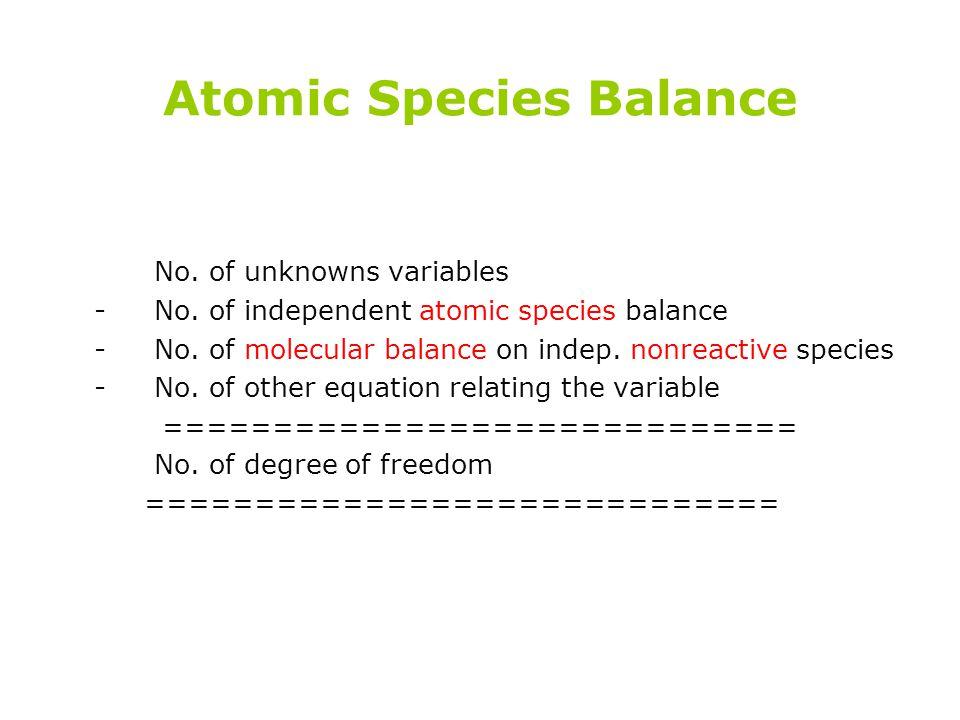 Atomic Species Balance No. of unknowns variables -No. of independent atomic species balance -No. of molecular balance on indep. nonreactive species -N