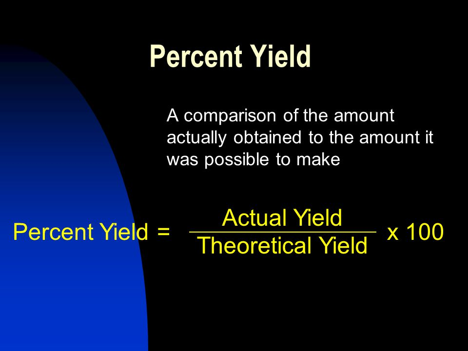 Percent Yield A comparison of the amount actually obtained to the amount it was possible to make Actual Yield Theoretical Yield Percent Yield =x 100