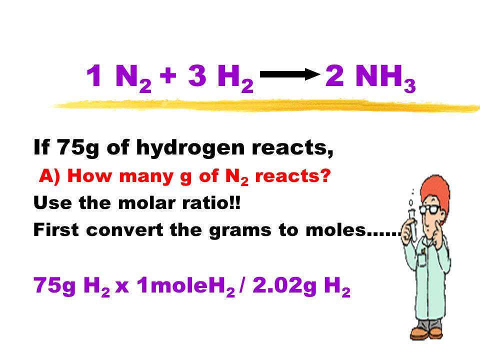 1 N 2 + 3 H 2 2 NH 3 If 75g of hydrogen reacts, A) How many g of N 2 reacts? Use the molar ratio!! First convert the grams to moles…… 75g H 2 x 1moleH