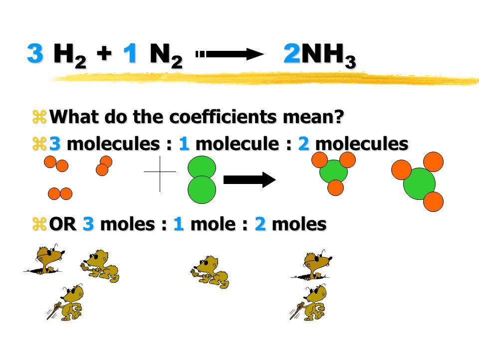 3 H 2 + 1 N 2 2NH 3 zWhat do the coefficients mean? z3 molecules : 1 molecule : 2 molecules zOR 3 moles : 1 mole : 2 moles