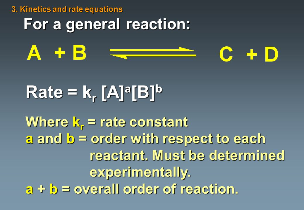 For a general reaction: Rate = k r [A] a [B] b Where k r = rate constant a and b = order with respect to each reactant.