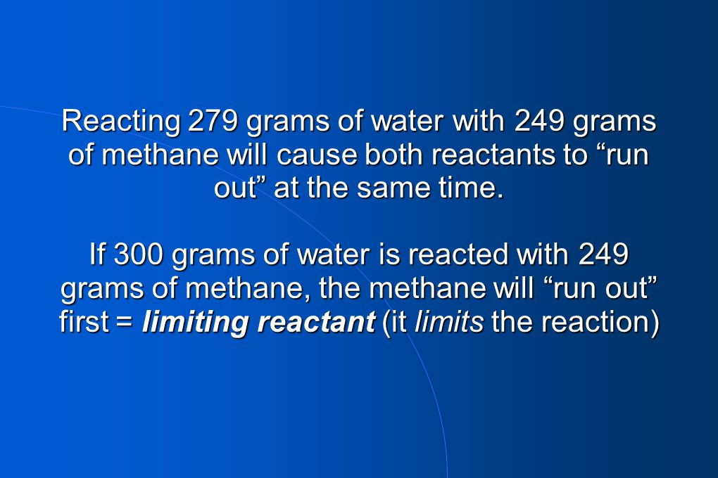 """Reacting 279 grams of water with 249 grams of methane will cause both reactants to """"run out"""" at the same time. If 300 grams of water is reacted with 2"""