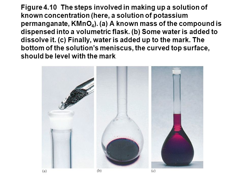 Figure 4.9 A pipet is an accurate means of transferring a fixed volume of solution. Here, a solution containing a reactant is being added to a reactio