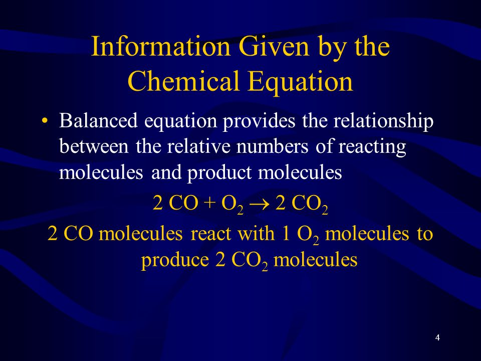 5 Information Given by the Chemical Equation Since the information given is relative: 2 CO + O 2  2 CO 2 200 CO molecules react with 100 O 2 molecules to produce 200 CO 2 molecules 2 billion CO molecules react with 1 billion O 2 molecules to produce 20 billion CO 2 molecules 2 moles CO molecules react with 1 mole O 2 molecules to produce 2 moles CO 2 molecules 12 moles CO molecules react with 6 moles O 2 molecules to produce 12 moles CO 2 molecules