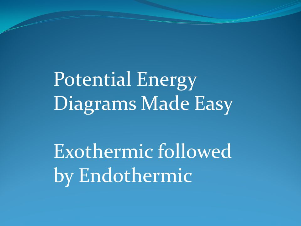 Potential Energy Diagrams Made Easy Exothermic followed by Endothermic