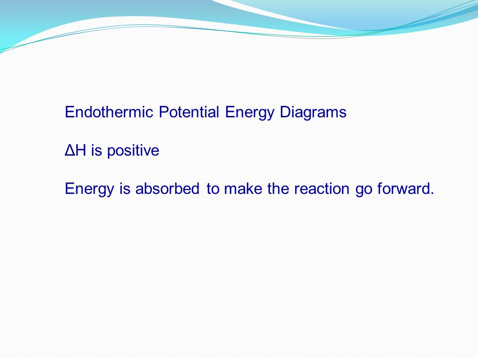 Endothermic Potential Energy Diagrams ΔH is positive Energy is absorbed to make the reaction go forward.