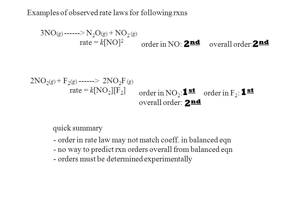 order in NO: overall order: - order in rate law may not match coeff.